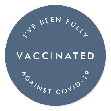 Covid-19 Vaccinated   Blue Modern Covid Vaccine Classic Round Sticker