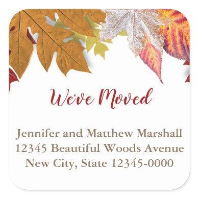 Custom Autumn Leaves Moving Announcement Square Sticker