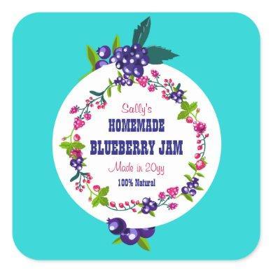 Custom•Blueberry Jam DIY Canning Square Sticker