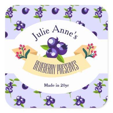 Custom•Blueberry Preserves DIY Canning Square Sticker