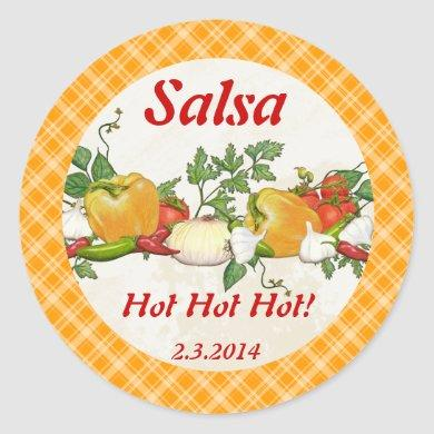 Custom color salsa ingredients canning label