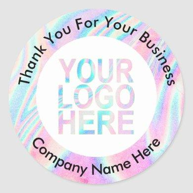 Custom Company Logo With Text Holographic Abstract Classic Round Sticker