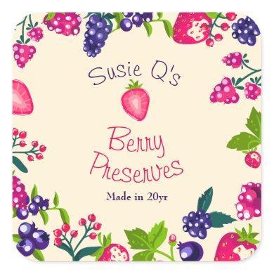 Custom Cream•Berry Preserves DIY Canning Square Sticker
