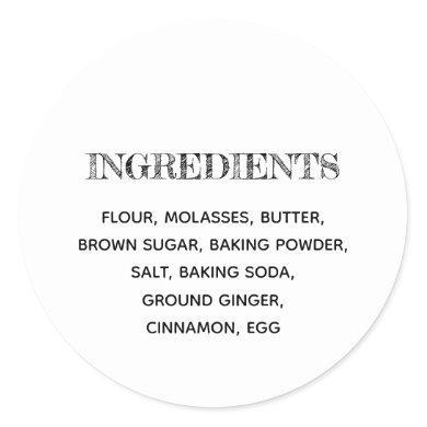 Custom Ingredients Gingerbread Homemade Cookies Classic Round Sticker