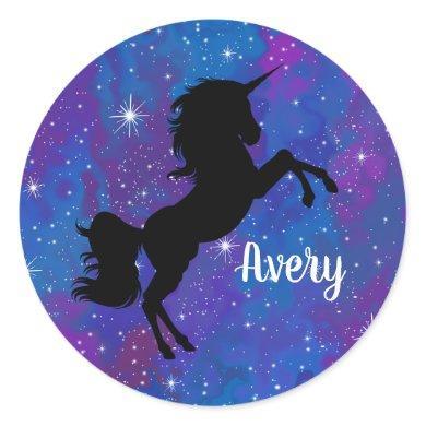 Custom Name Black/Purple Galaxy Unicorn Sticker