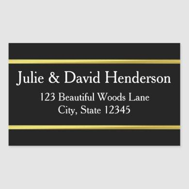 Custom Name Faux Gold Border Address Rectangular Sticker