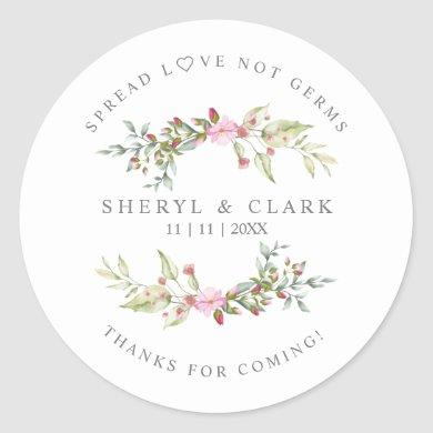 Custom Pink Floral Wreath Wedding Sanitizer Gel Classic Round Sticker