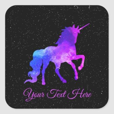Custom Text Black/Purple Galaxy Unicorn Space Square Sticker