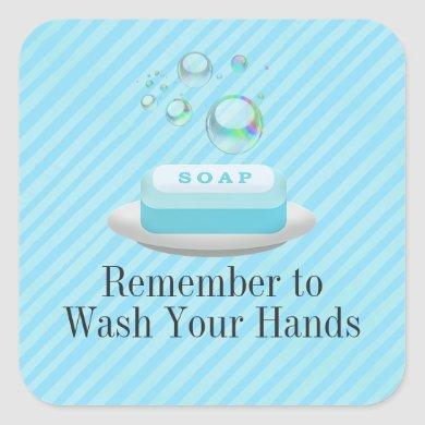 Custom Text Turquoise Blue Soap Wash Your Hands Square Sticker