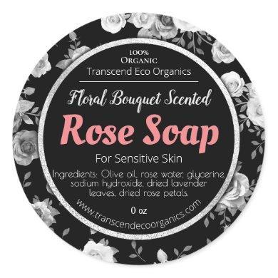 Customizable Rose Soap Label Handmade Business
