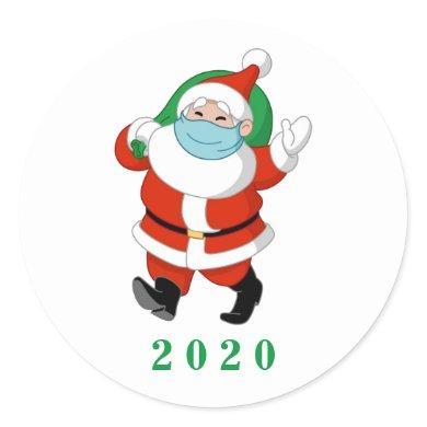 Customizable Santa wearing medical mask Classic Round Sticker