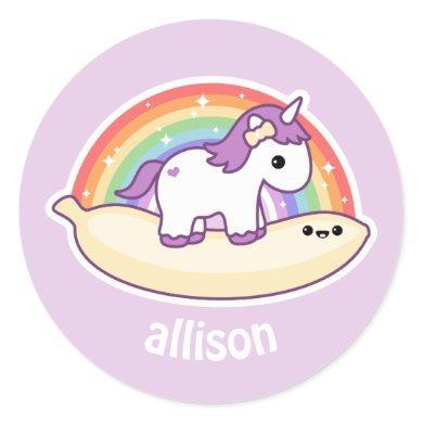 Cute Banana Unicorn Classic Round Sticker