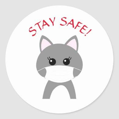 CUTE CAT WEARING MASK STAY SAFE  Round Sticker