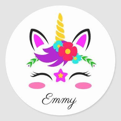 Cute Custom Name & Color Little Blushing Unicorn Classic Round Sticker