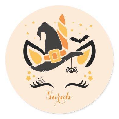 Cute Custom Name Unicorn Witch Halloween Classic Round Sticker