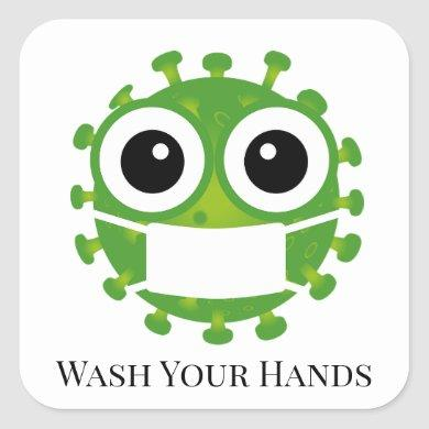 Cute Custom Text Green Virus Germ Emoji Wash Hands Square Sticker