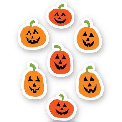 Cute Halloween Pumpkin Custom-Cut Vinyl Stickers
