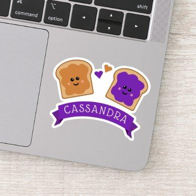 Cute Peanut Butter and Jelly Name Sticker