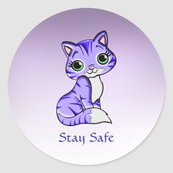 Cute Pet Kitty Cat Says Stay Safe Stickers