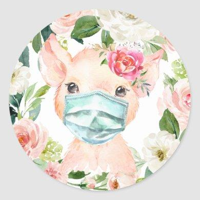 Cute Pig Wearing Mask with Blush Pink Flowers Classic Round Sticker