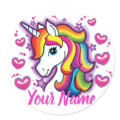 Cute Rainbow Unicorn Horse with Stars Hearts Classic Round Sticker