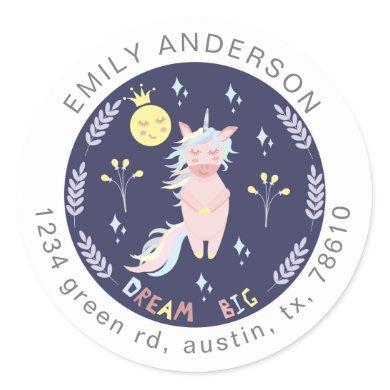 Cute unicorn dream big navy blue return address classic round sticker