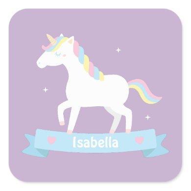 Cute Unicorn Pastel Girls Personalized Stickers