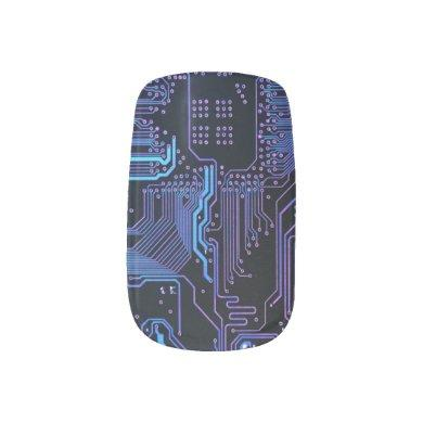 Dark Blue and Purple Cool Computer Circuit Board Minx Nail Wraps