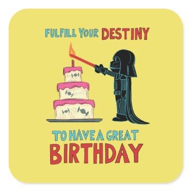 Darth Vader Lighting Birthday Candle Square Sticker