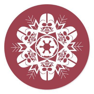 Darth Vader Snowflake Design Classic Round Sticker