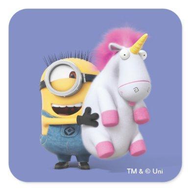 Despicable Me | Minion Stuart & Unicorn Square Sticker