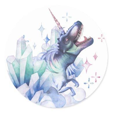 Dinocorn Crystal | Unicorn Dinosaur Mystical Party Classic Round Sticker
