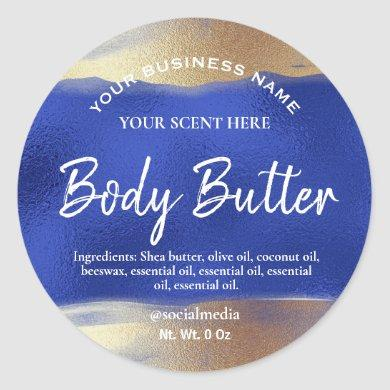 DIY Blue Gold Body Butter Product Labels