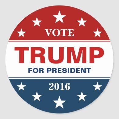 Donald Trump 2016 Presidential Campaign Flag Stars Classic Round Sticker