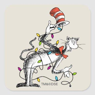 Dr. Seuss | The Grinch | Mischievous Cat in the Ha Square Sticker