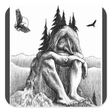 Dream With Eagles Sketch Artwork Square Sticker