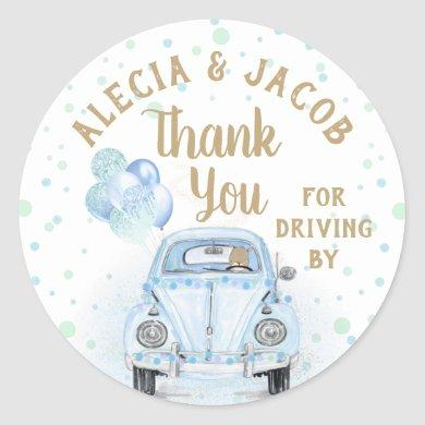 Drive By Car Boy Baby Shower Thank You Blue Gold Classic Round Sticker