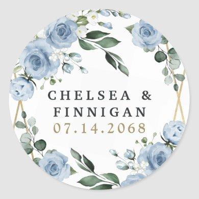 Dusty Blue and Gold Elegant Floral Rustic Wedding Classic Round Sticker
