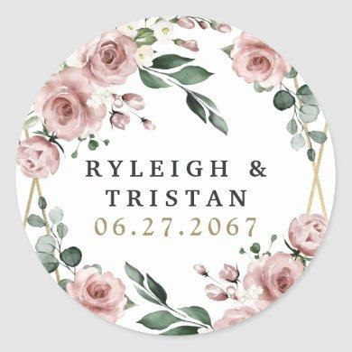 Dusty Rose Pink and Gold Floral Greenery Wedding Classic Round Sticker