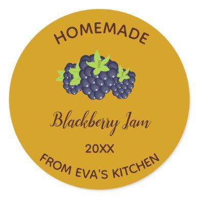 Editable Homemade Blackberry Jam Classic Round Sticker