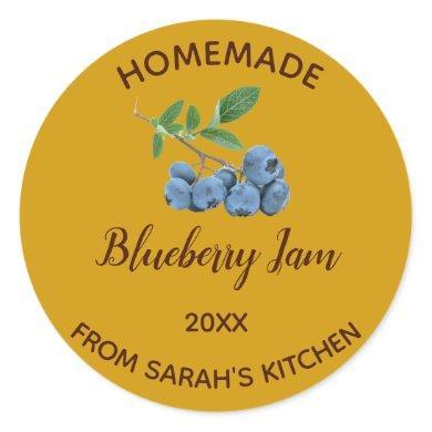 Editable Homemade Blueberry Jam Classic Round Sticker