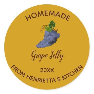 Editable Homemade Grape Jelly Classic Round Sticker