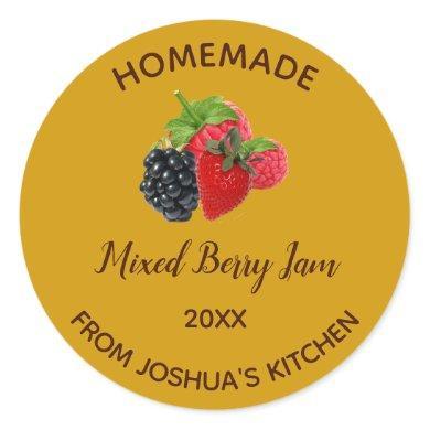 Editable Homemade Mixed Berry Jam Classic Round Sticker