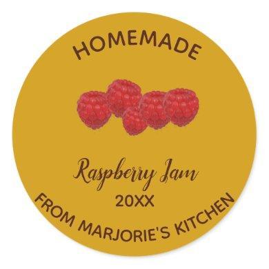 Editable Homemade Raspberry Jam Classic Round Sticker