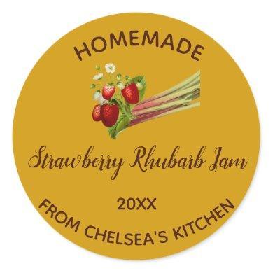 Editable Homemade Strawberry Rhubarb Jam Classic Round Sticker