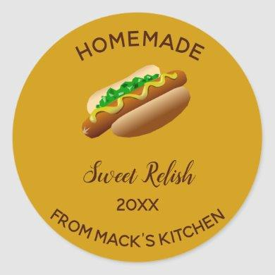 Editable Homemade Sweet Relish Classic Round Sticker