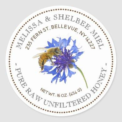 Editable Honey Product Blue Flower Bee Label
