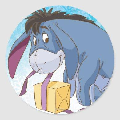 Eeyore Wrapping Gift Classic Round Sticker