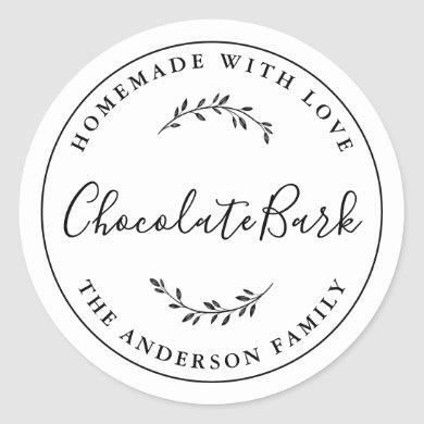 Elegant Botanical Logo Homemade Baking Gift Classic Round Sticker