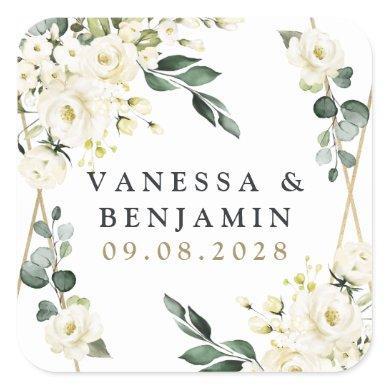 Elegant Gold Geometric Floral Greenery Wedding Square Sticker